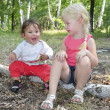 Stock Photo: Summer in woods on birch logs sits two little sisters