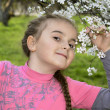 Spring in the garden a little girl holding a cherry branch. — Stock Photo #45344925