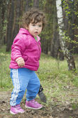 Little girl in the forest. — Stock Photo