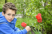 Boy sitting near tulips. — Stock Photo