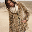 Beautiful woman wearing tigerprint coat in snow — Stock Photo #26727287