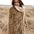 Beautiful woman wearing tigerprint coat in snow — Stock Photo