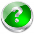3d question mark button on green and metallic silver — Stock Vector