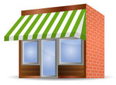 Storefront Awning in green — Stock Vector