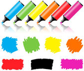 Highlighter pen with scribbles on a blank piece of paper — Vector de stock