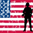 Royalty-Free Stock Vector Image: American flag with soldier