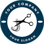 Ножницы резки прядь волос, волос Солон логотип — Cтоковый вектор