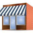 Storefront Awning in blue — Stock Vector