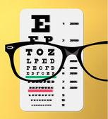 Eyeglasses over snellen eye chart — Stock Vector