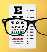 Glasögon över snellen öga diagram — Stockvektor