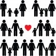 Family life icon set in black - Stock Vector