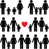 Set di icone di vita familiare in nero — Vettoriale Stock