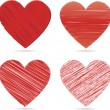 Red vector hearts for valentines day — Stock Vector