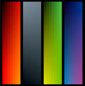 Gradient color banners in vertical format on black bacground — Stock Vector