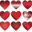 Shiny red vector hearts for valentines day — Stock Vector
