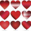 Shiny red vector hearts for valentines day — Stock Vector #19806885