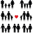 Family life icon set in black with a red heart — Stock vektor