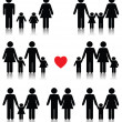 Family life icon set in black with a red heart — Stockvectorbeeld