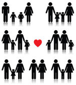 Family life icon set in black with a red heart — Stock Vector
