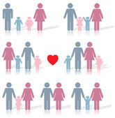 Family life icon set in color with a red heart — Vettoriale Stock
