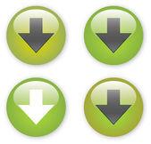 Arrow download green button icon — Stock Vector