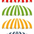 Four different colored vector awnings - Stock Vector