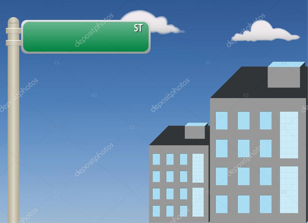A vector illustration showing a  street sign attached to a pole on blue sky — Stock Vector #19917455