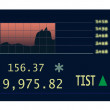 Stocks chart at the stock exchange with green rise indicator — Imagen vectorial