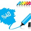 Highlighter pen with scribbles on a blank piece of paper — Stock Vector