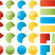 Set of vector stickers in red, green, blue and yellow colors — Image vectorielle