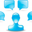 User comments by buddy icon in blue — Imagen vectorial