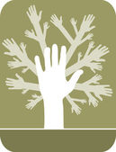 Concept of hands tree — Stock Vector