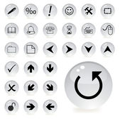 Arrow and directional icons in grey color — ストックベクタ