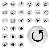 Iconos de flecha y direccional en color gris — Vector de stock