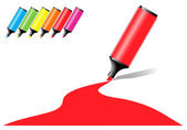 Marker pens with a colored area in various color options — Stock Vector