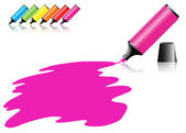 Highlighter pen with scribbles on a blank piece of paper — 图库矢量图片