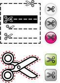 Vektorové ilustrace nůžky šablony s lesklá tlačítka a — Stock vektor