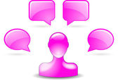 User comments by buddy icon in pink — Stock Vector
