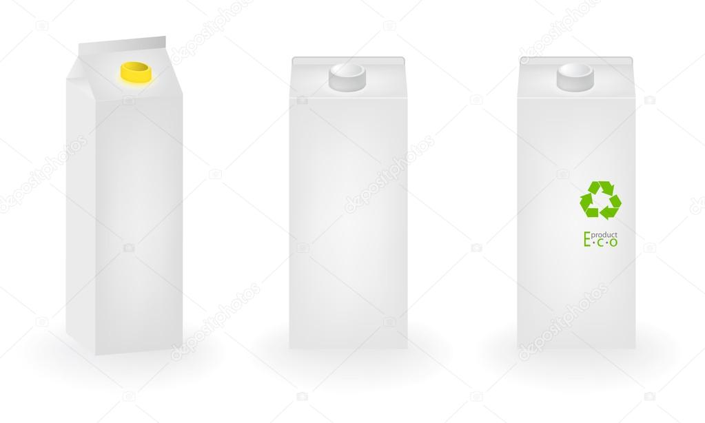 Blank carton box on white with eco milk product label — Stock Vector #19923125
