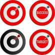 Black and red darts as well as success and target text on it — Stock Vector