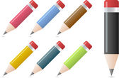 Pencils in different colors with a shadow underneath — Stock Vector