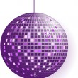 Disco ball in purple tones isolated on white — Vector de stock #19942257