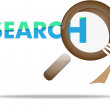 Vector de stock : Loupe, magnifying glass on search concept