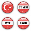 Stock Vector: Yes or no vote badge button for turkish referendum election