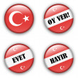 Yes or no vote badge button for turkish referendum election — Stock Vector