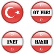 Yes or no vote badge button for turkish referendum election — Imagen vectorial