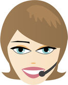 Face of virtual customer representative with a microphone — Stock Vector
