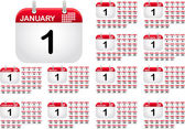 Calendar icons for all monthes of the year — 图库矢量图片