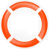 Life ring buoy in white — Stock Vector