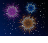 Fireworks display with multiple bursts — Stock Vector